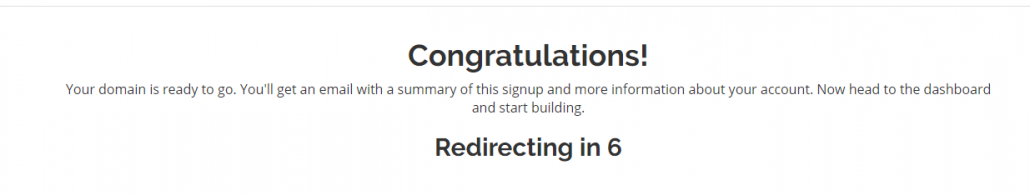 Image. Congratulations. Redirecting to cPanel.