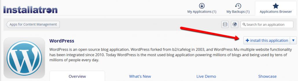 Image. Install WordPress