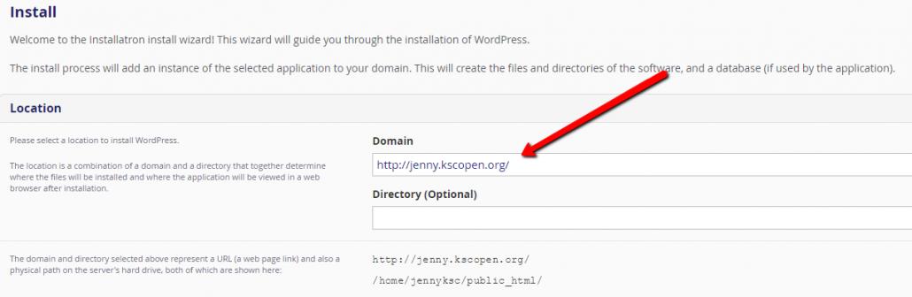 Image. Install WordPress Location.